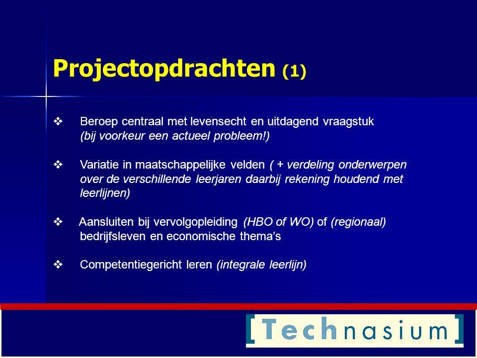 Projectopdrachten (2) Twee soorten onderzoeks- en ontwerpopdrachten: 1.Vaste opdrachten: gemaakt door O&O-docent in samenwerking met de opdrachtgever 2.