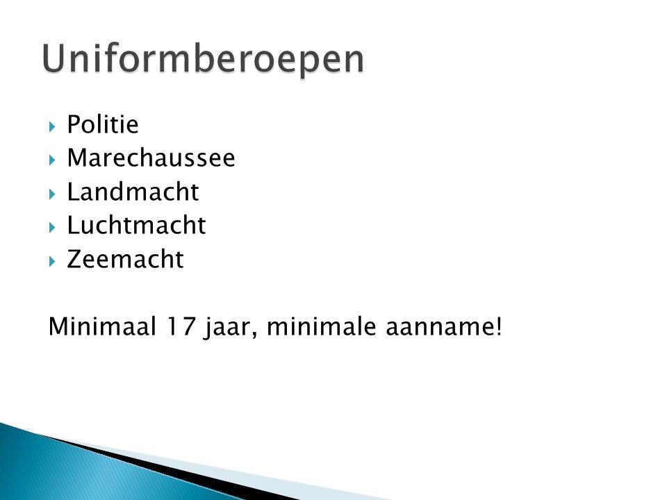 Politie  Marechaussee  Landmacht  Luchtmacht  Zeemacht Minimaal 17 jaar, minimale aanname!