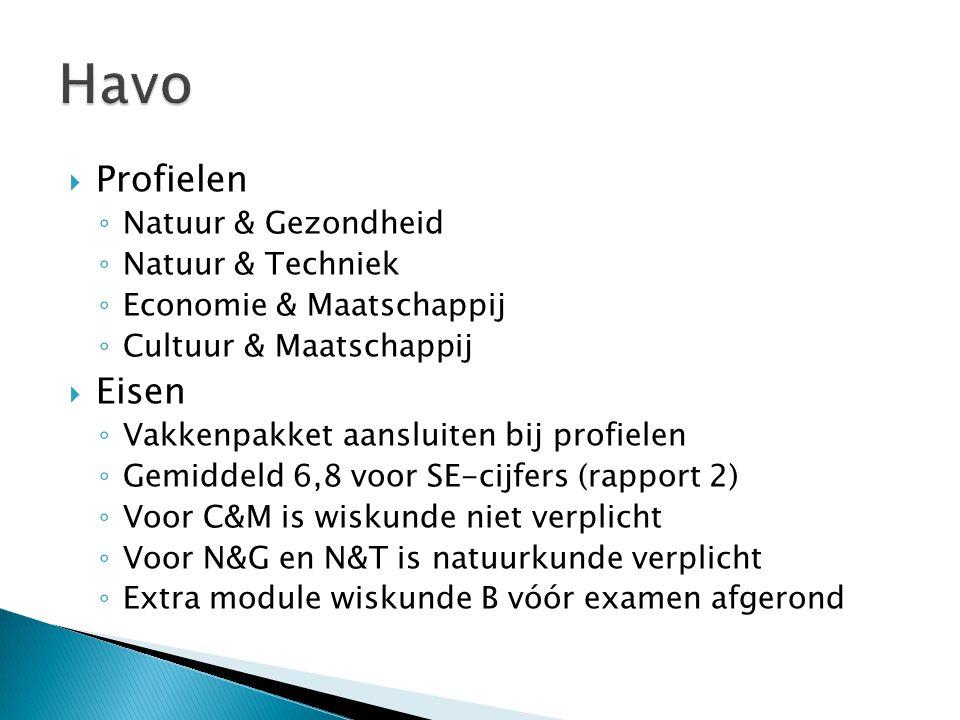  Profielen ◦ Natuur & Gezondheid ◦ Natuur & Techniek ◦ Economie & Maatschappij ◦ Cultuur & Maatschappij  Eisen ◦ Vakkenpakket aansluiten bij profiel