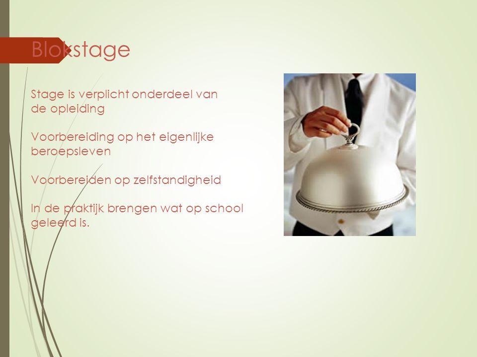 Blokstage Stage is verplicht onderdeel van de opleiding Voorbereiding op het eigenlijke beroepsleven Voorbereiden op zelfstandigheid In de praktijk br