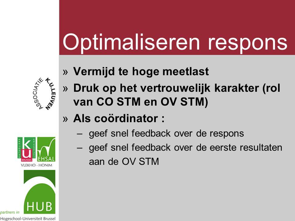 Optimaliseren respons »Vermijd te hoge meetlast »Druk op het vertrouwelijk karakter (rol van CO STM en OV STM) »Als coördinator : – geef snel feedback over de respons – geef snel feedback over de eerste resultaten aan de OV STM