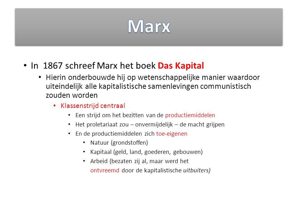 In 1867 schreef Marx het boek Das Kapital Hierin onderbouwde hij op wetenschappelijke manier waardoor uiteindelijk alle kapitalistische samenlevingen