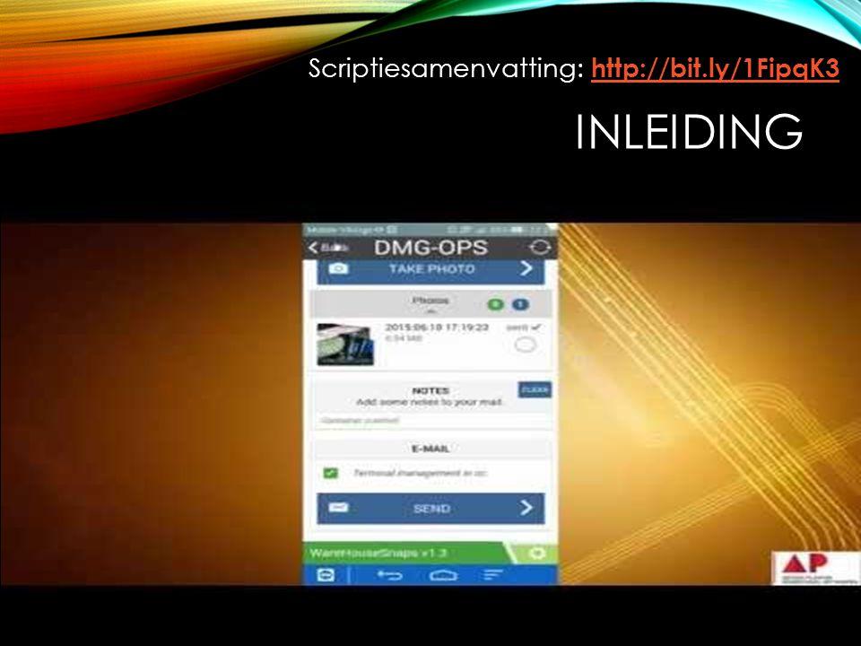 DOEL Mobiele applicatie om de workflow van de medewerkers te vergemakkelijken: Foto's nemen; Barcodes scannen; Notities nemen; Mailen: data gebundeld naar een Digitaal Informatie Systeem versturen waar deze data kunnen worden uitgelezen.