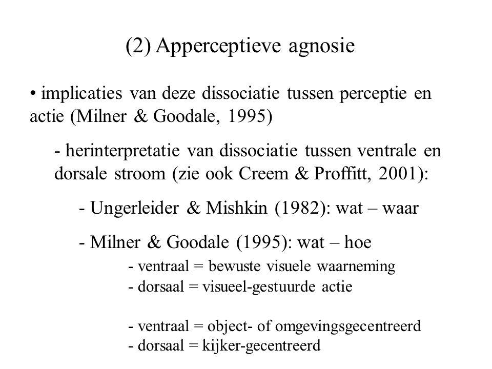 (2) Apperceptieve agnosie implicaties van deze dissociatie tussen perceptie en actie (Milner & Goodale, 1995) - herinterpretatie van dissociatie tusse