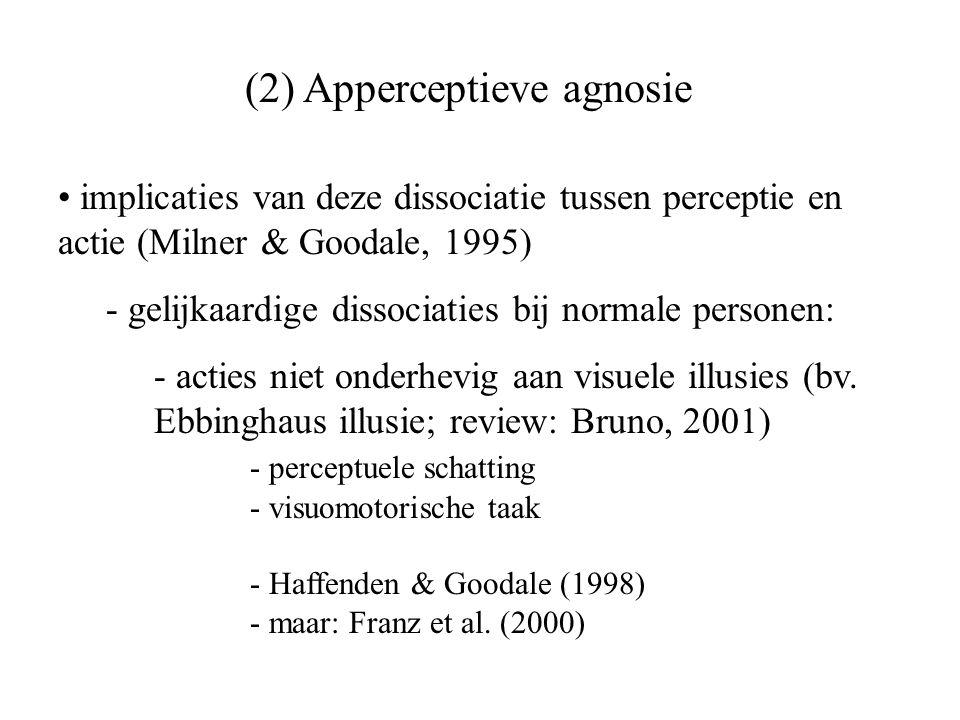 (2) Apperceptieve agnosie implicaties van deze dissociatie tussen perceptie en actie (Milner & Goodale, 1995) - gelijkaardige dissociaties bij normale
