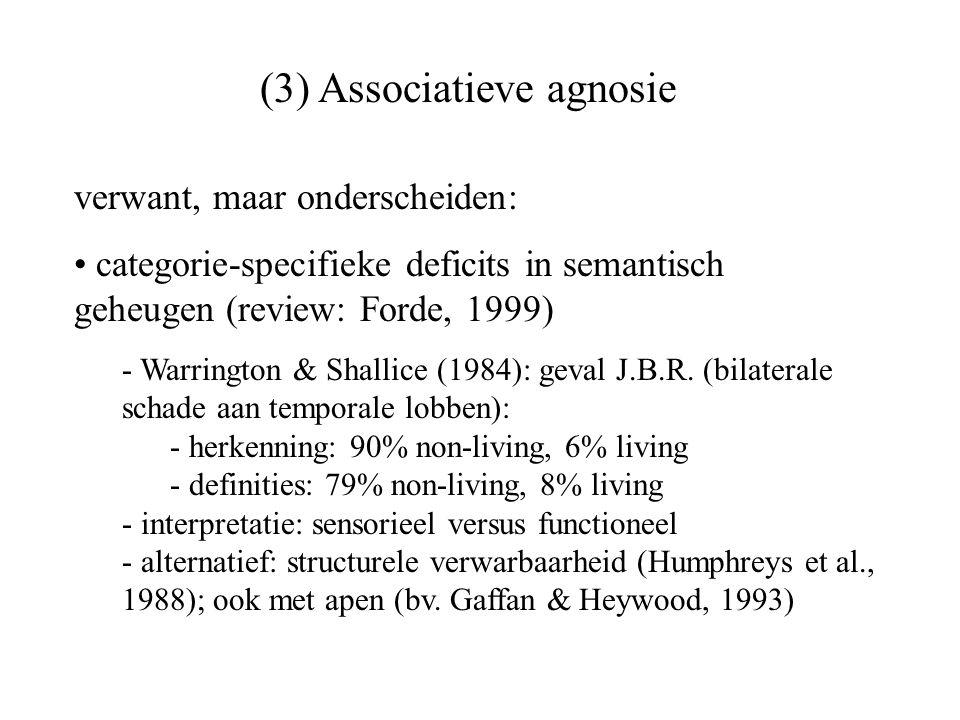 verwant, maar onderscheiden: categorie-specifieke deficits in semantisch geheugen (review: Forde, 1999) - Warrington & Shallice (1984): geval J.B.R. (