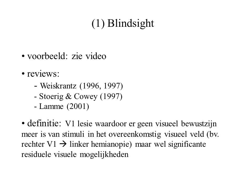 (1) Blindsight voorbeeld: zie video reviews: - Weiskrantz (1996, 1997) - Stoerig & Cowey (1997) - Lamme (2001) definitie: V1 lesie waardoor er geen vi