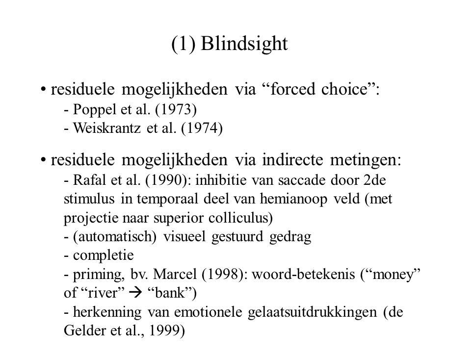 (1) Blindsight diermodel (Cowey & Stoerig, 1997): - unilaterale V1 lesie - verstoorde detectie, intact reik-gedrag - dissociatie (cf.