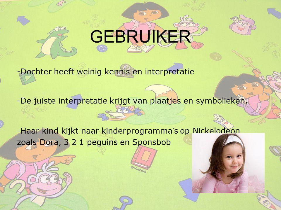 GEBRUIKER -Dochter heeft weinig kennis en interpretatie -De juiste interpretatie krijgt van plaatjes en symbolieken. -Haar kind kijkt naar kinderprogr