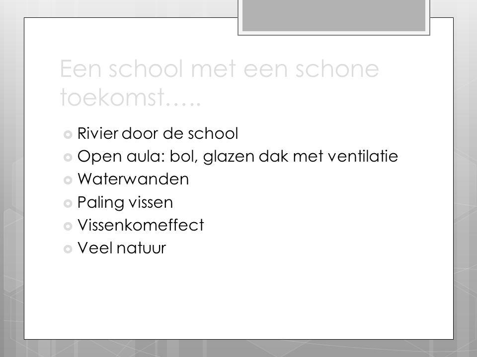 Een school met een schone toekomst…..  Rivier door de school  Open aula: bol, glazen dak met ventilatie  Waterwanden  Paling vissen  Vissenkomeff