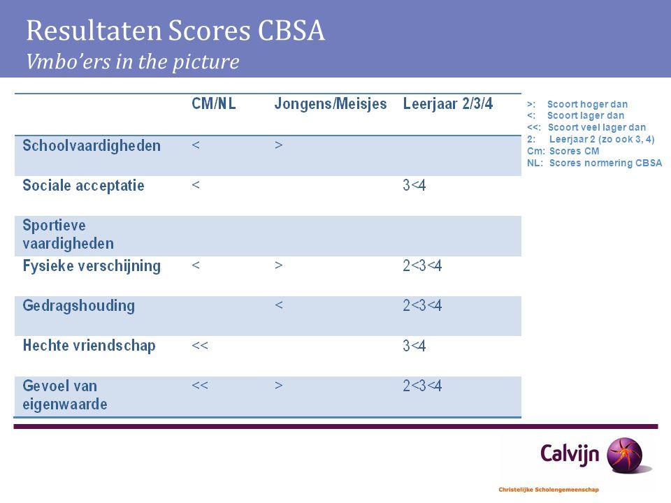 Resultaten Scores CBSA Vmbo'ers in the picture >: Scoort hoger dan <: Scoort lager dan <<: Scoort veel lager dan 2: Leerjaar 2 (zo ook 3, 4) Cm: Score
