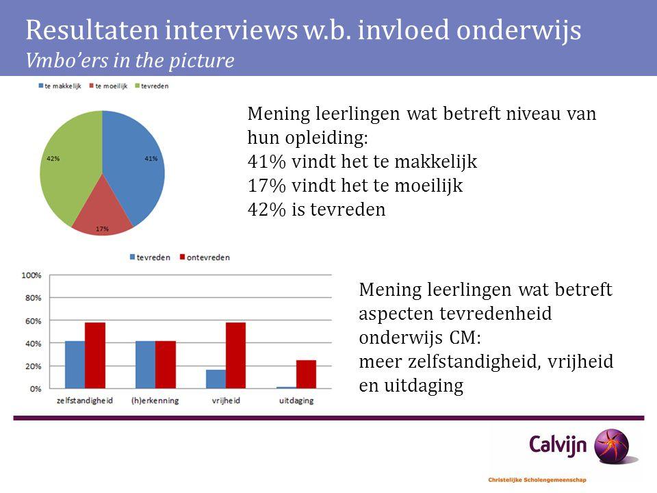 Resultaten interviews w.b. invloed onderwijs Vmbo'ers in the picture Mening leerlingen wat betreft niveau van hun opleiding: 41% vindt het te makkelij