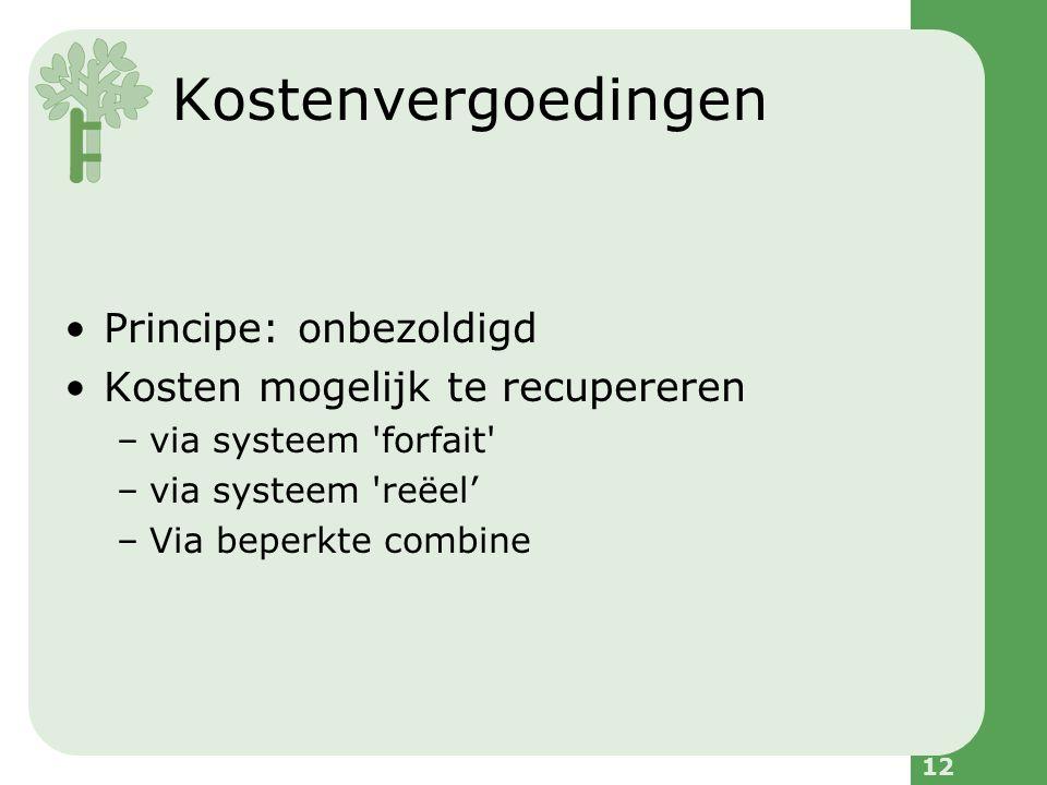 12 Kostenvergoedingen Principe: onbezoldigd Kosten mogelijk te recupereren –via systeem forfait –via systeem reëel' –Via beperkte combine