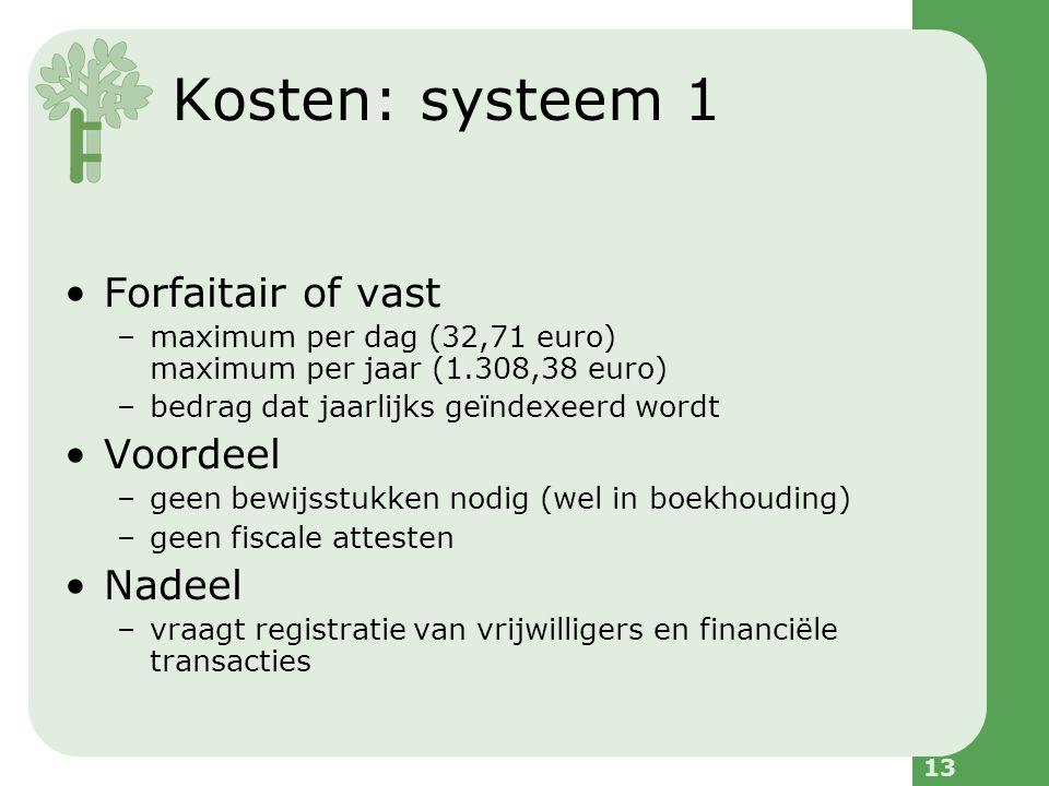 13 Forfaitair of vast –maximum per dag (32,71 euro) maximum per jaar (1.308,38 euro) –bedrag dat jaarlijks geïndexeerd wordt Voordeel –geen bewijsstukken nodig (wel in boekhouding) –geen fiscale attesten Nadeel –vraagt registratie van vrijwilligers en financiële transacties Kosten: systeem 1