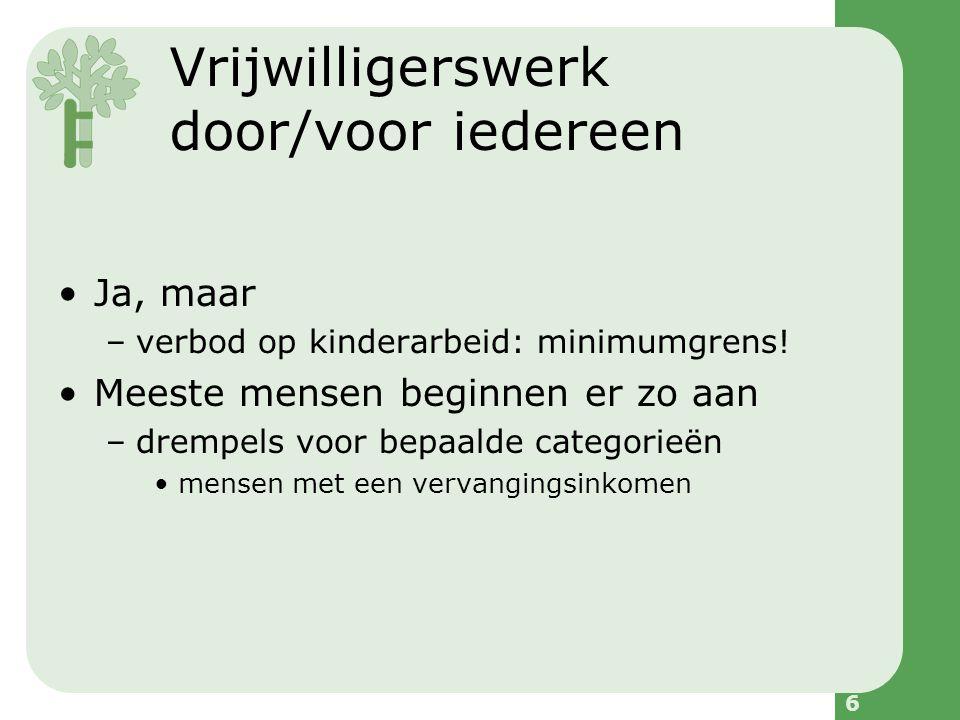 6 Vrijwilligerswerk door/voor iedereen Ja, maar –verbod op kinderarbeid: minimumgrens.