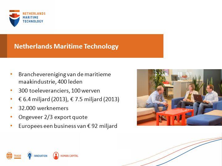 Netherlands Maritime Technology Branchevereniging van de maritieme maakindustrie, 400 leden 300 toeleveranciers, 100 werven € 6.4 miljard (2013), € 7.5 miljard (2013) 32.000 werknemers Ongeveer 2/3 export quote Europees een business van € 92 miljard