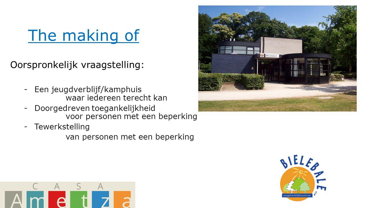 The making of Oorspronkelijk vraagstelling: -Een jeugdverblijf/kamphuis waar iedereen terecht kan -Doorgedreven toegankelijkheid voor personen met een beperking -Tewerkstelling van personen met een beperking