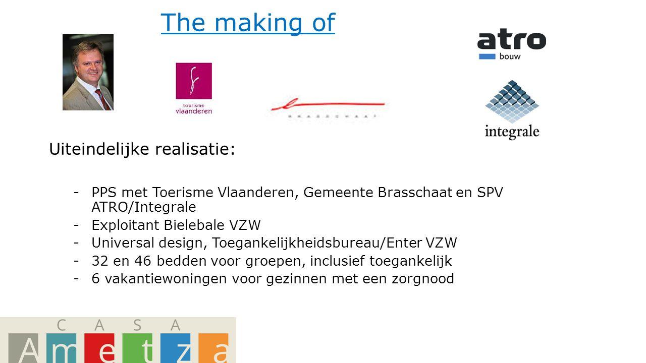 The making of Uiteindelijke realisatie: -PPS met Toerisme Vlaanderen, Gemeente Brasschaat en SPV ATRO/Integrale -Exploitant Bielebale VZW -Universal design, Toegankelijkheidsbureau/Enter VZW -32 en 46 bedden voor groepen, inclusief toegankelijk -6 vakantiewoningen voor gezinnen met een zorgnood