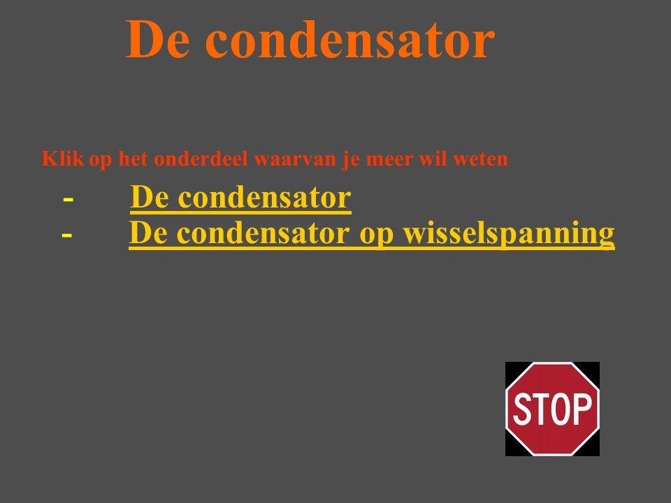Opbouw condensator De condensator bestaat uit twee geleiders met daar tussen isolatie deze isolatie noemen we het diélektricum Hoe je de condensator ook aansluit er gaat nooit stroom door de condensator