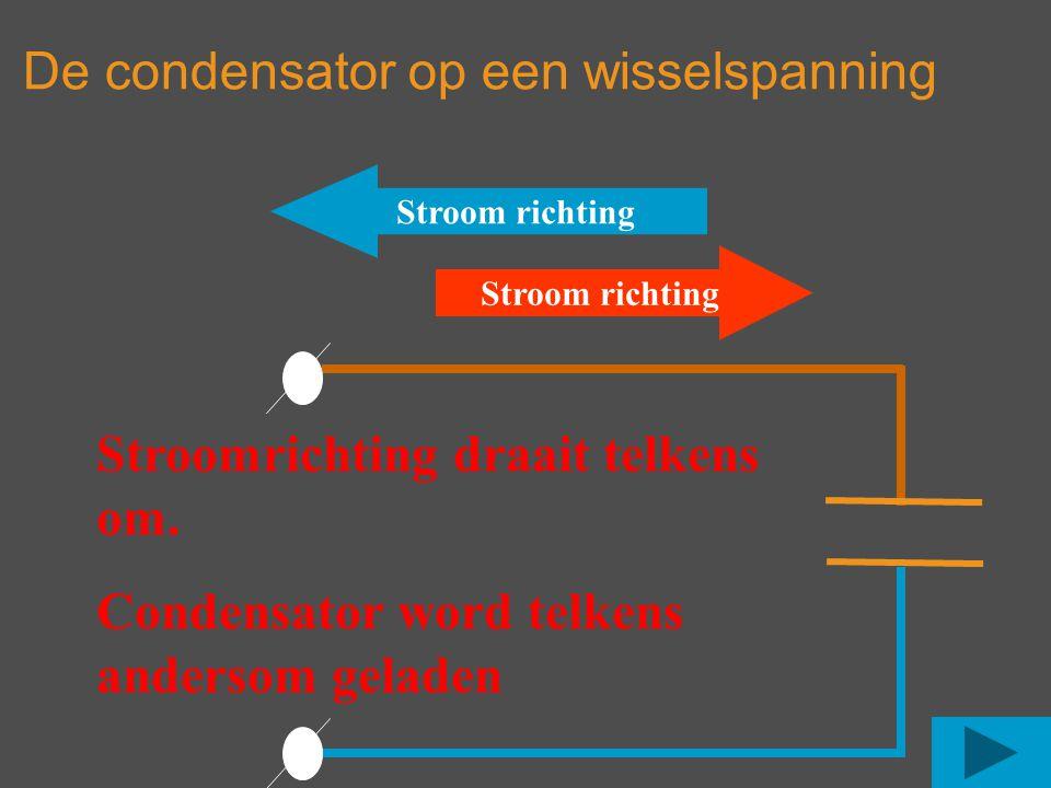 Stroom richting Stroomrichting draait telkens om. Condensator word telkens andersom geladen De condensator op een wisselspanning