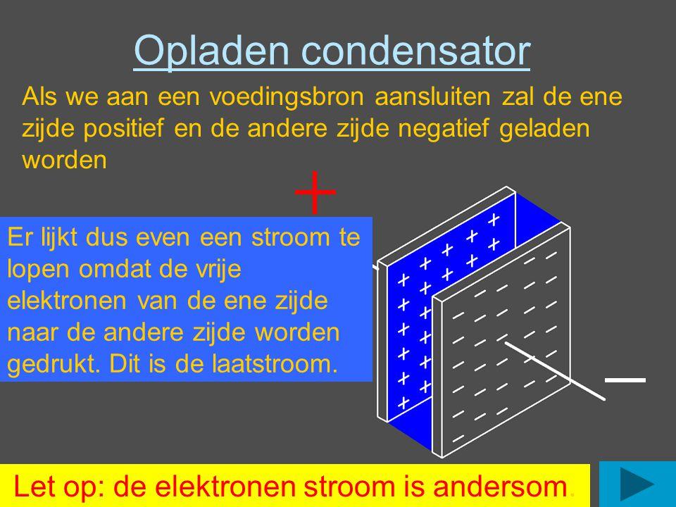 Opladen condensator Als we aan een voedingsbron aansluiten zal de ene zijde positief en de andere zijde negatief geladen worden Let op: de elektronen stroom is andersom.