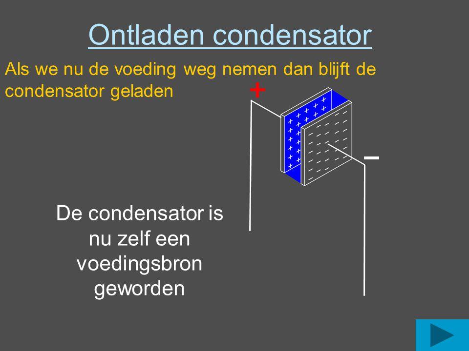 Ontladen condensator Als we nu de voeding weg nemen dan blijft de condensator geladen De condensator is nu zelf een voedingsbron geworden