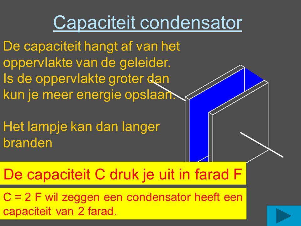 Capaciteit condensator De capaciteit hangt af van het oppervlakte van de geleider. Is de oppervlakte groter dan kun je meer energie opslaan. Het lampj