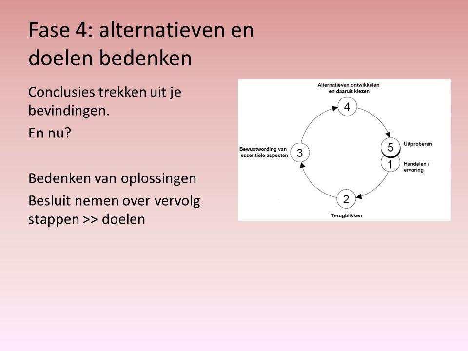 Fase 4: alternatieven en doelen bedenken Conclusies trekken uit je bevindingen.