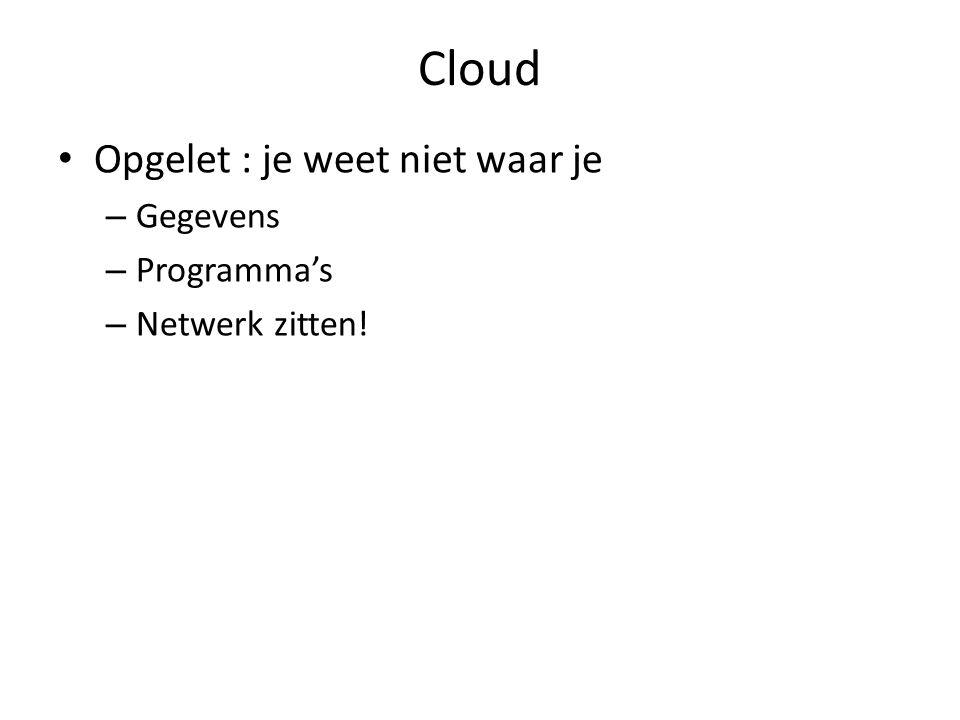 Cloud Opgelet : je weet niet waar je – Gegevens – Programma's – Netwerk zitten!