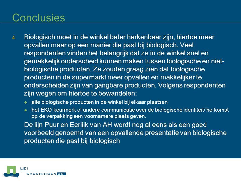 Conclusies 4. Biologisch moet in de winkel beter herkenbaar zijn, hiertoe meer opvallen maar op een manier die past bij biologisch. Veel respondenten