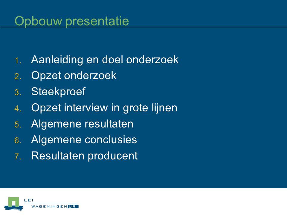 Opbouw presentatie 1. Aanleiding en doel onderzoek 2.
