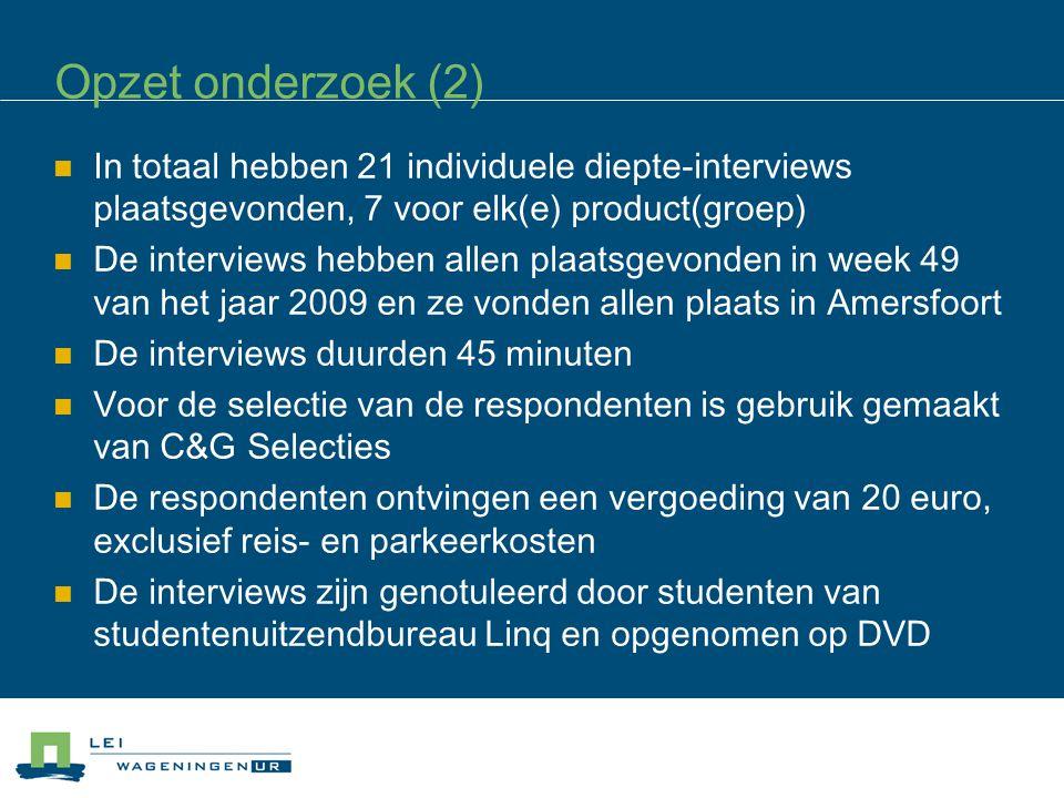 Opzet onderzoek (2) In totaal hebben 21 individuele diepte-interviews plaatsgevonden, 7 voor elk(e) product(groep) De interviews hebben allen plaatsge