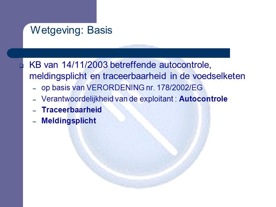 Wetgeving: Basis  KB van 14/11/2003 betreffende autocontrole, meldingsplicht en traceerbaarheid in de voedselketen – op basis van VERORDENING nr. 178