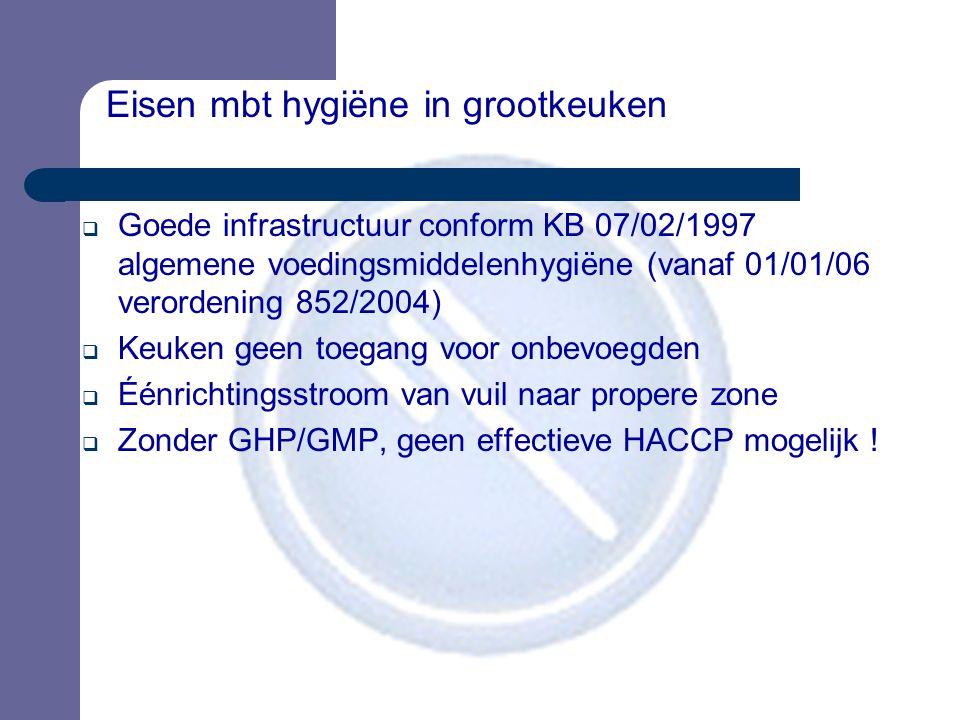 Eisen mbt hygiëne in grootkeuken  Goede infrastructuur conform KB 07/02/1997 algemene voedingsmiddelenhygiëne (vanaf 01/01/06 verordening 852/2004) 