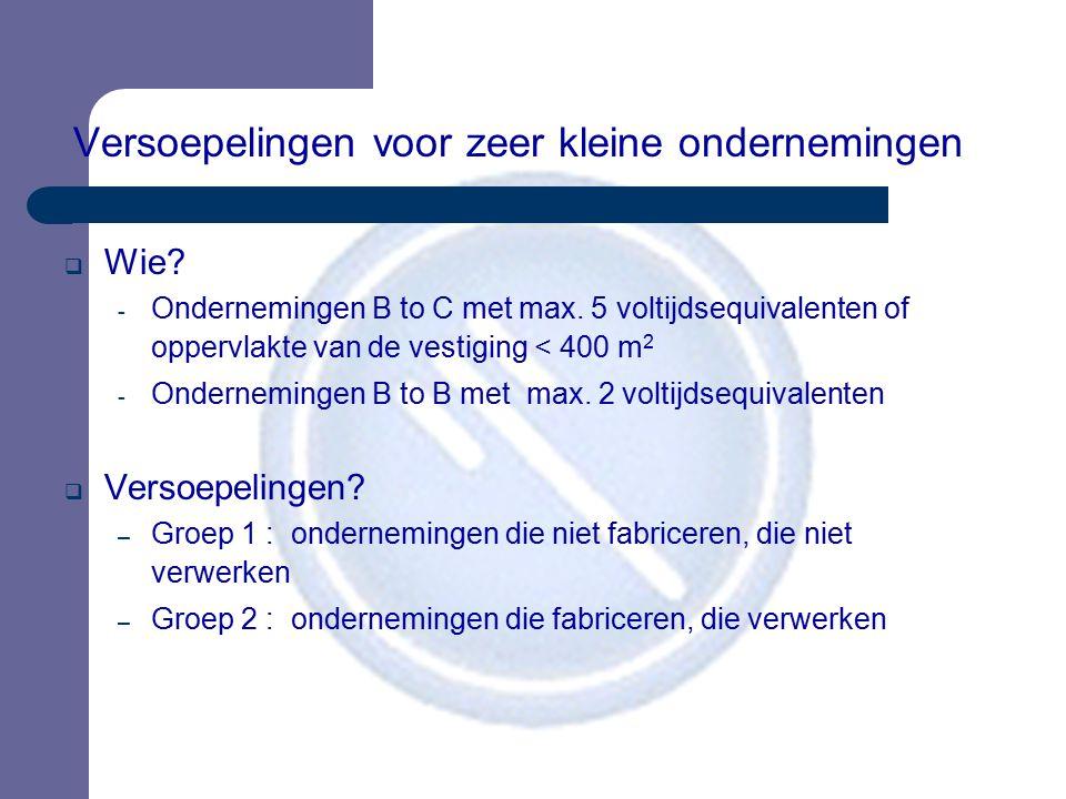 Versoepelingen voor zeer kleine ondernemingen  Wie? - Ondernemingen B to C met max. 5 voltijdsequivalenten of oppervlakte van de vestiging < 400 m 2
