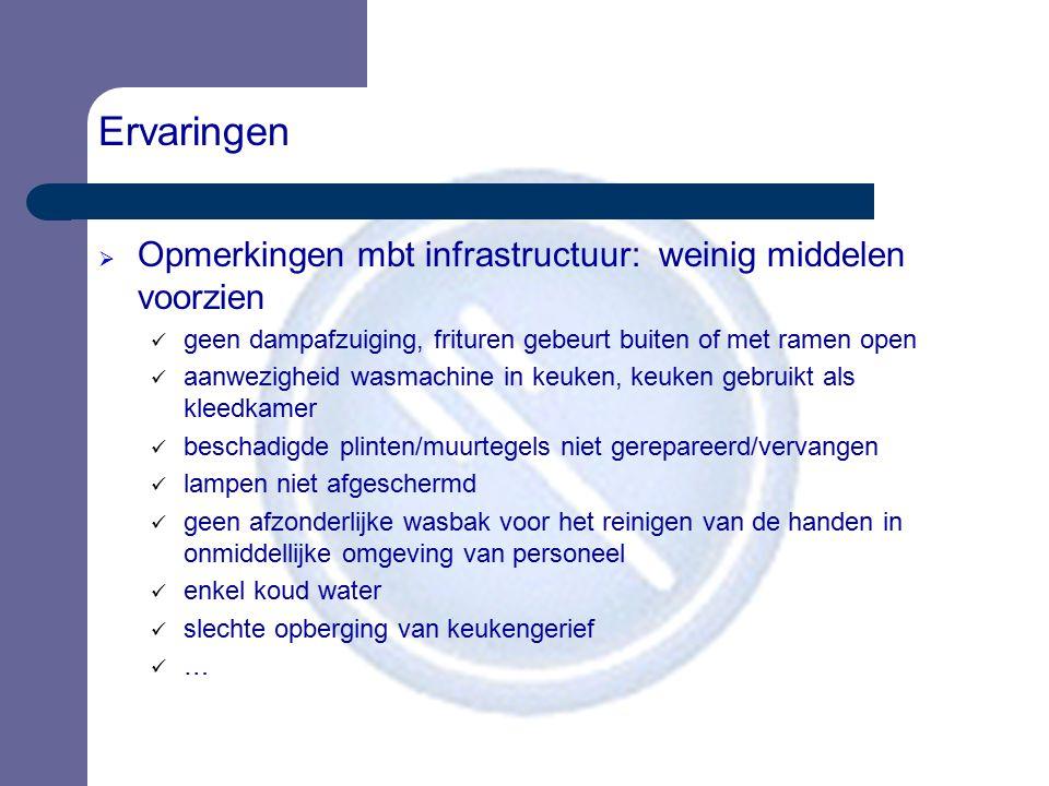 Ervaringen  Opmerkingen mbt infrastructuur: weinig middelen voorzien geen dampafzuiging, frituren gebeurt buiten of met ramen open aanwezigheid wasma