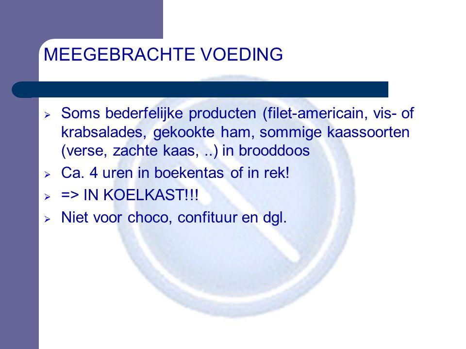MEEGEBRACHTE VOEDING  Soms bederfelijke producten (filet-americain, vis- of krabsalades, gekookte ham, sommige kaassoorten (verse, zachte kaas,..) in