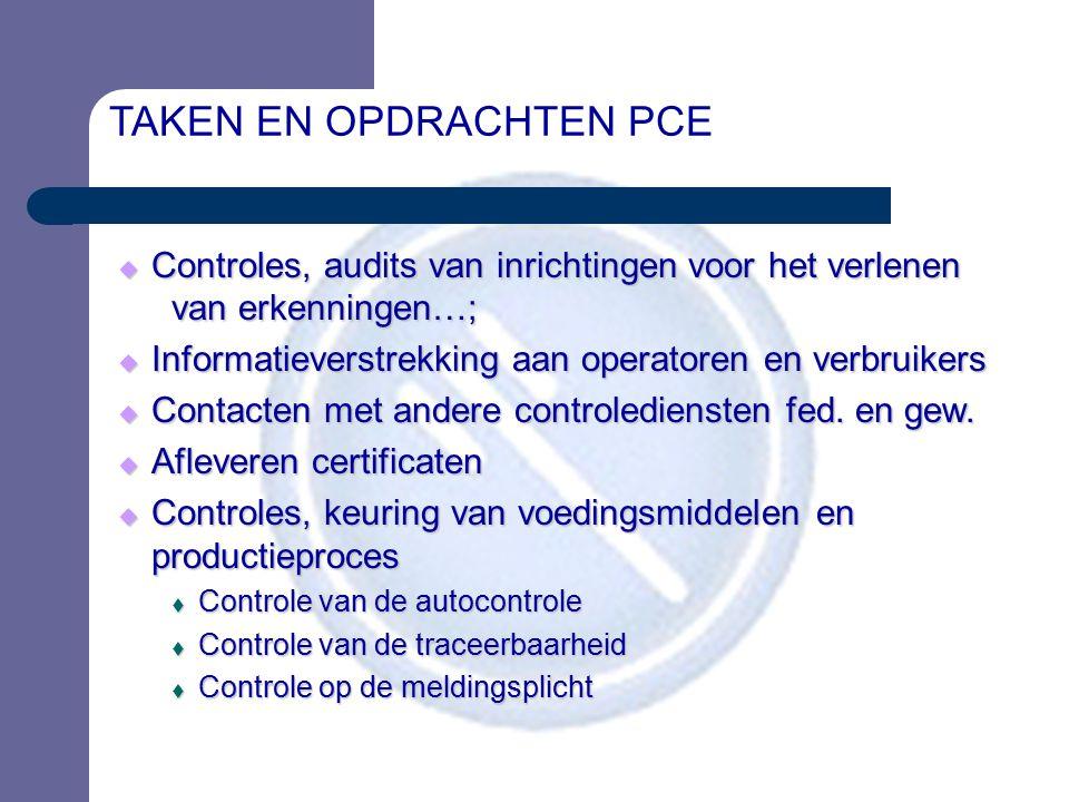 TAKEN EN OPDRACHTEN PCE  Controles, audits van inrichtingen voor het verlenen van erkenningen…;  Informatieverstrekking aan operatoren en verbruiker