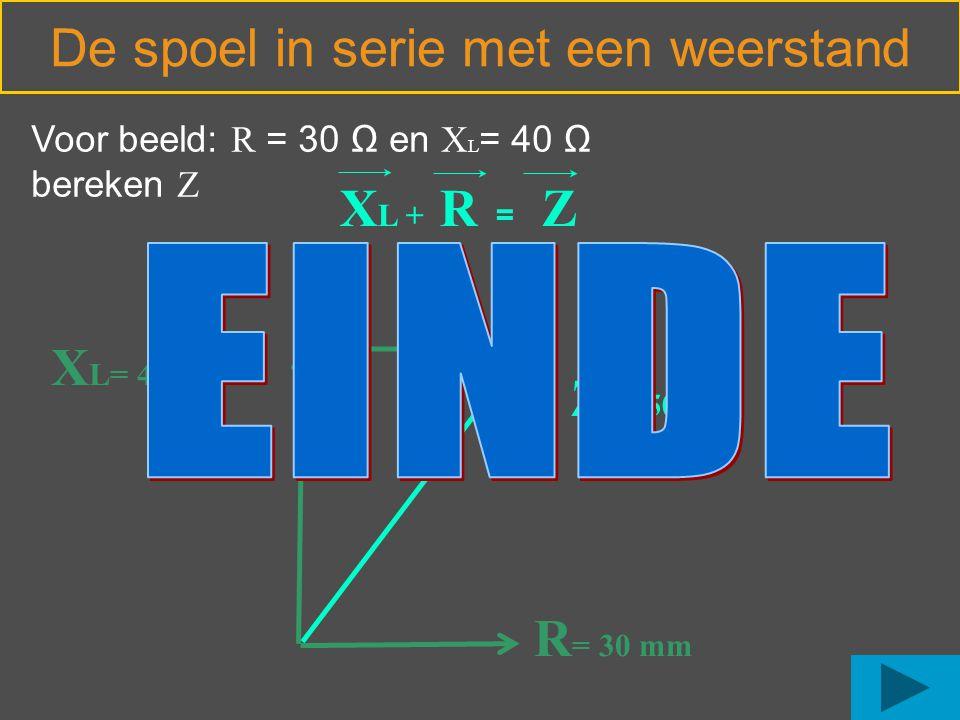De spoel in serie met een weerstand R = 30 mm X L= 40 mm Voor beeld: R = 30 Ω en X L = 40 Ω bereken Z Z = 50 mm X L + R = Z