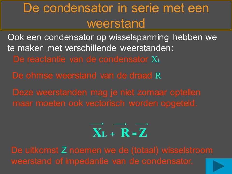 Ook een condensator op wisselspanning hebben we te maken met verschillende weerstanden: De reactantie van de condensator X L De ohmse weerstand van de