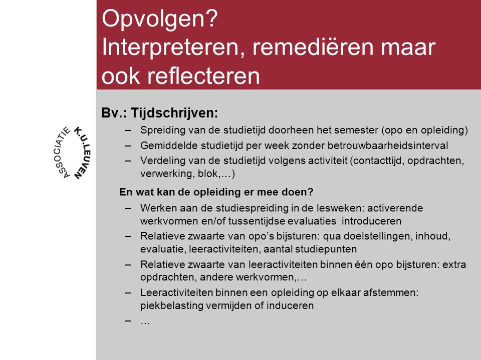 Studietijdmetingen: een doel of een middel? Bv.: Tijdschrijven: –Spreiding van de studietijd doorheen het semester (opo en opleiding) –Gemiddelde stud