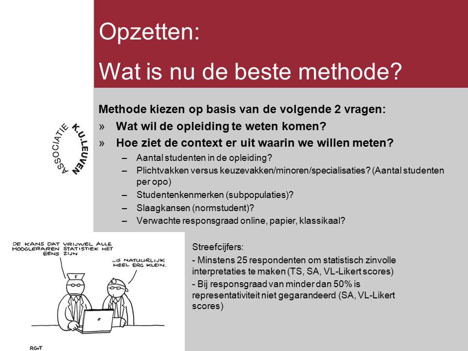 Wat is nu de beste methode? Methode kiezen op basis van de volgende 2 vragen: »Wat wil de opleiding te weten komen? »Hoe ziet de context er uit waarin