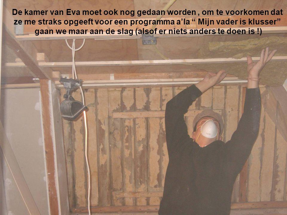 Als het plafond er inzit gaan we verder met de wanden Het moet natuurlijk wel geisoleerd worden Het begint al wat te lijken Heerlijk dat glaswol… Zo, klaar om te gaan behangen
