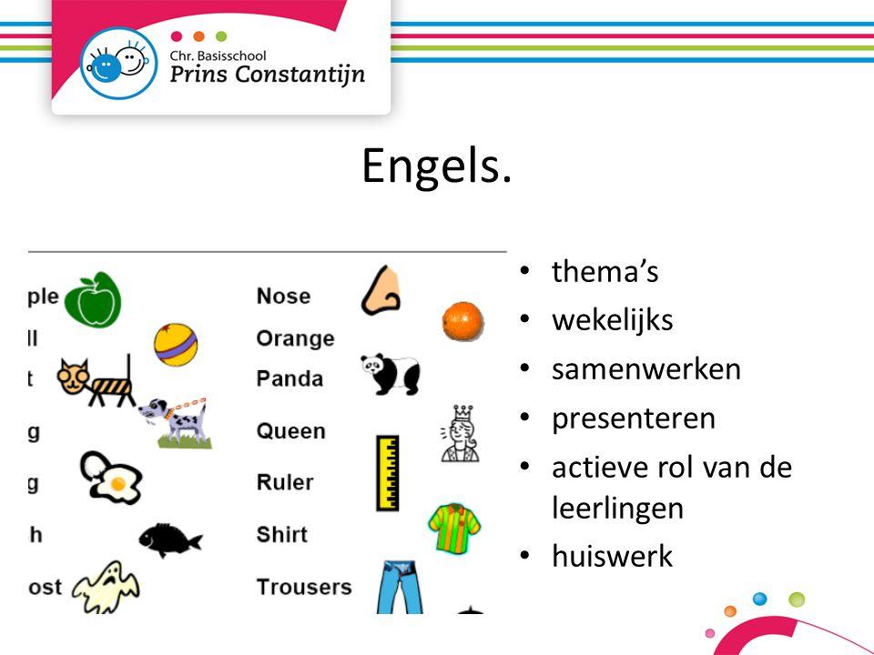 Engels. thema's wekelijks samenwerken presenteren actieve rol van de leerlingen huiswerk