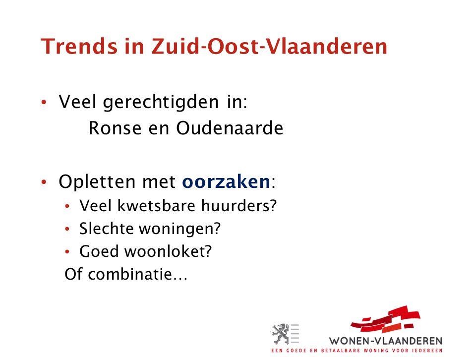 Trends in Zuid-Oost-Vlaanderen Veel gerechtigden in: Ronse en Oudenaarde Opletten met oorzaken: Veel kwetsbare huurders.