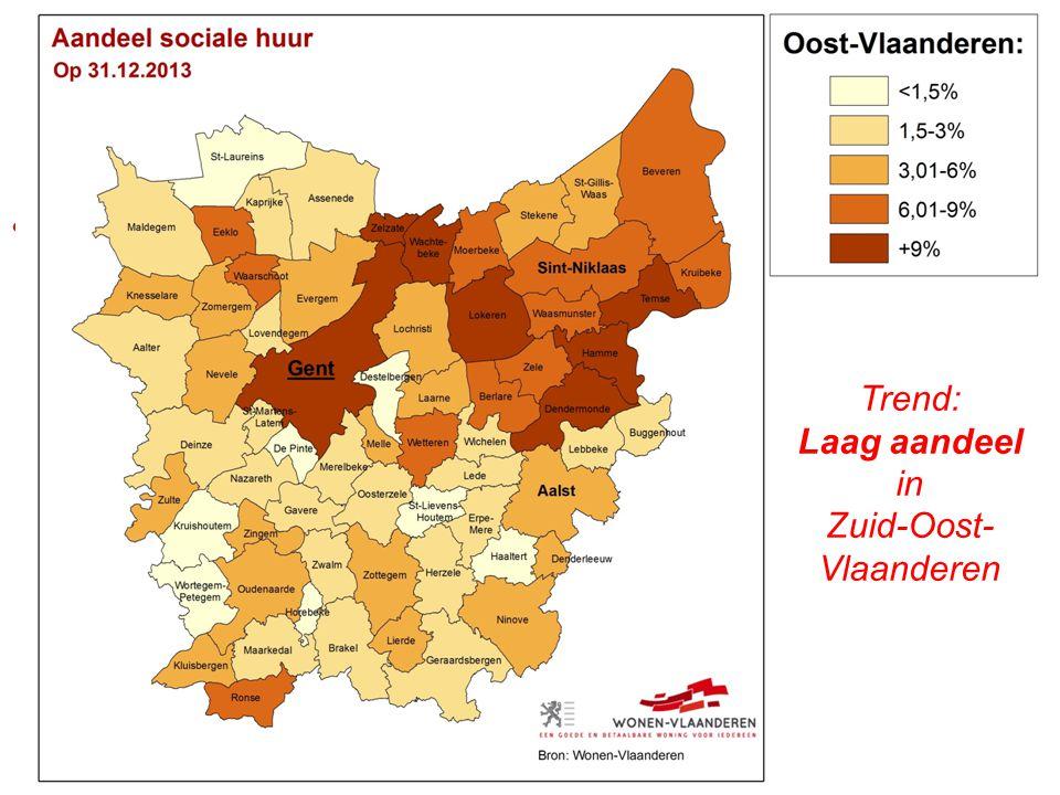 [kaart] Trend: Laag aandeel in Zuid-Oost- Vlaanderen
