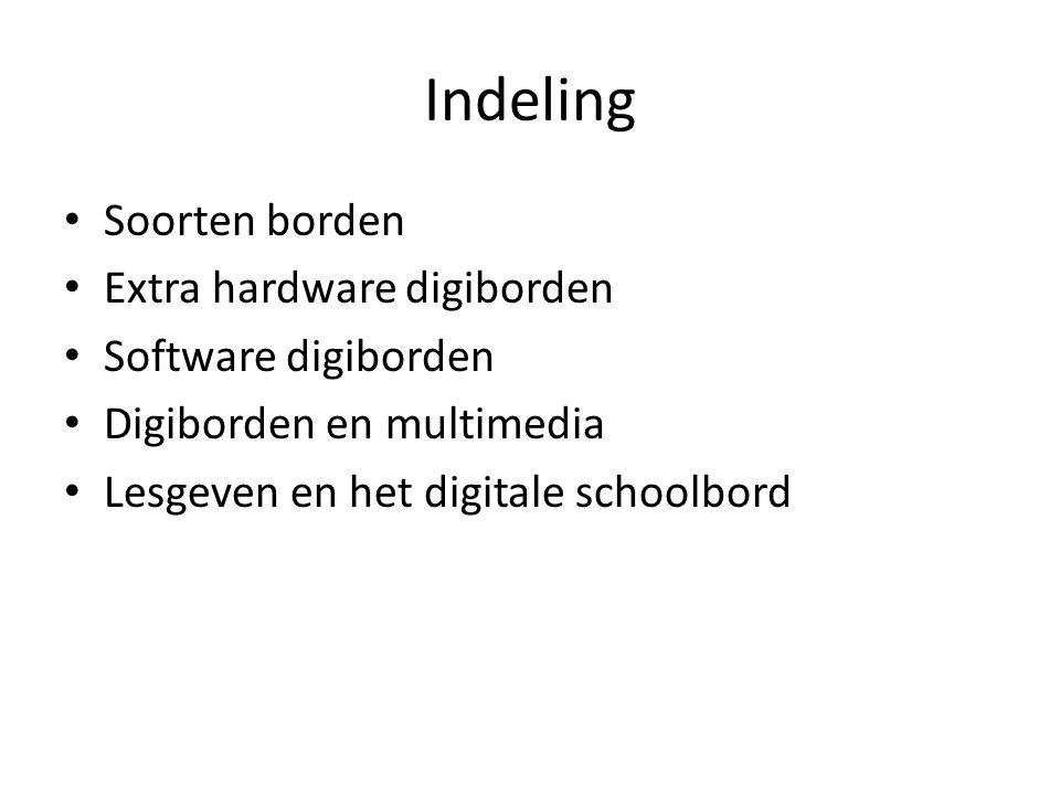 Indeling Soorten borden Extra hardware digiborden Software digiborden Digiborden en multimedia Lesgeven en het digitale schoolbord