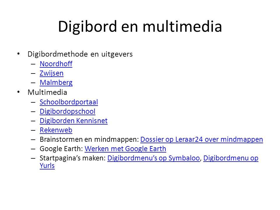 Digibord en multimedia Digibordmethode en uitgevers – Noordhoff Noordhoff – Zwijsen Zwijsen – Malmberg Malmberg Multimedia – Schoolbordportaal Schoolb