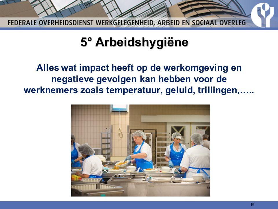 5° Arbeidshygiëne Alles wat impact heeft op de werkomgeving en negatieve gevolgen kan hebben voor de werknemers zoals temperatuur, geluid, trillingen,