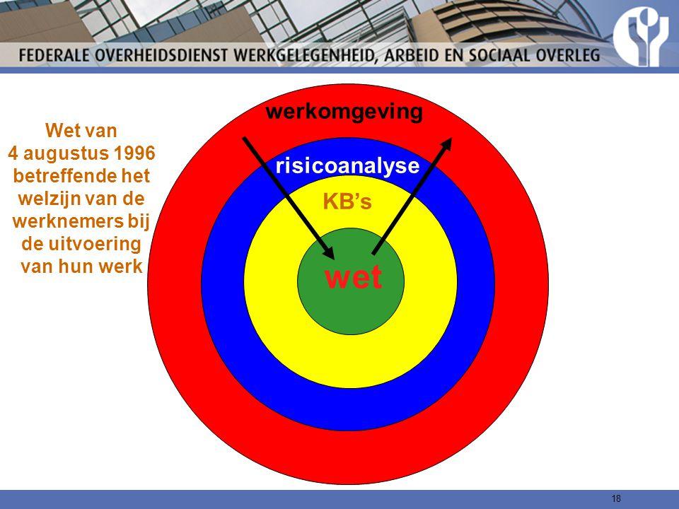 18 Wet van 4 augustus 1996 betreffende het welzijn van de werknemers bij de uitvoering van hun werk KB's werkomgeving wet risicoanalyse